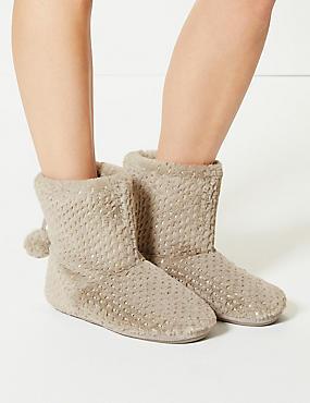 Glitter Spotted Slipper Boots