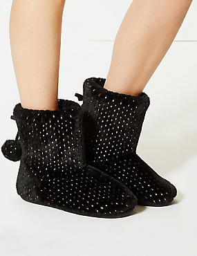 Glitter Spotted Slipper Boots