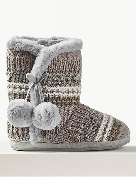 Faux Fur Pom-Pom Slipper Boots