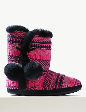 Faux Fur Pom-Pom Slipper Boots