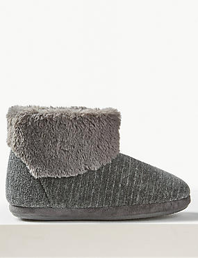 Faux Fur Turned Down Slipper Boots