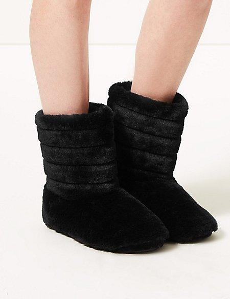 Fur Striped Slipper Boots