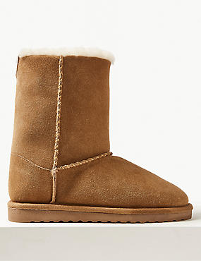 Suede Shearling Slipper Boots