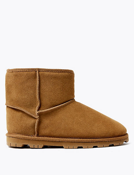 Suede Cleated Sole Slipper Boots