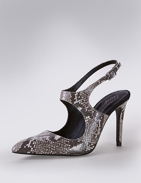 Leather Faux Snakeskin Print Slingback Court Shoes with Insolia®