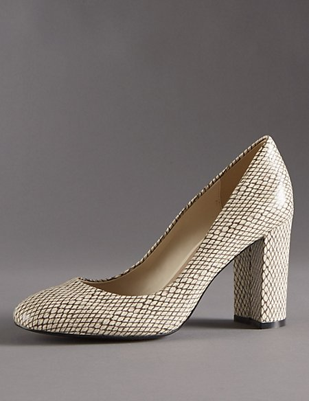 Leather Block Heel Court Shoes