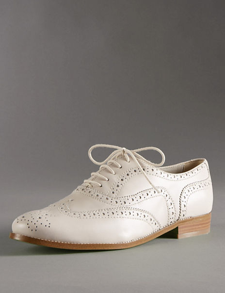 Leather Lace Up Flat Brogue Shoes with Insolia Flex®