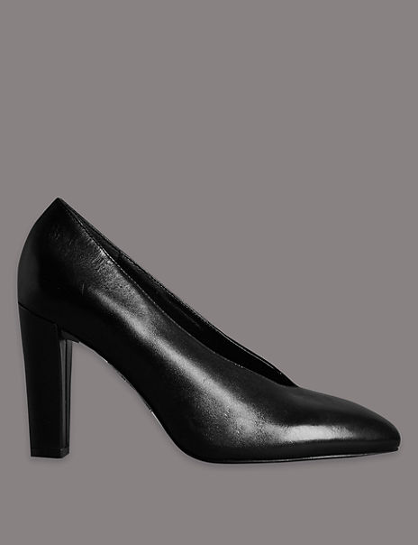 Leather Block Heel High Cut Court Shoes