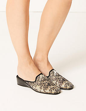 Wedge Heel Floral Print Mule Slippers