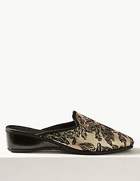 Wedge Heel Floral Print Mule Slippers