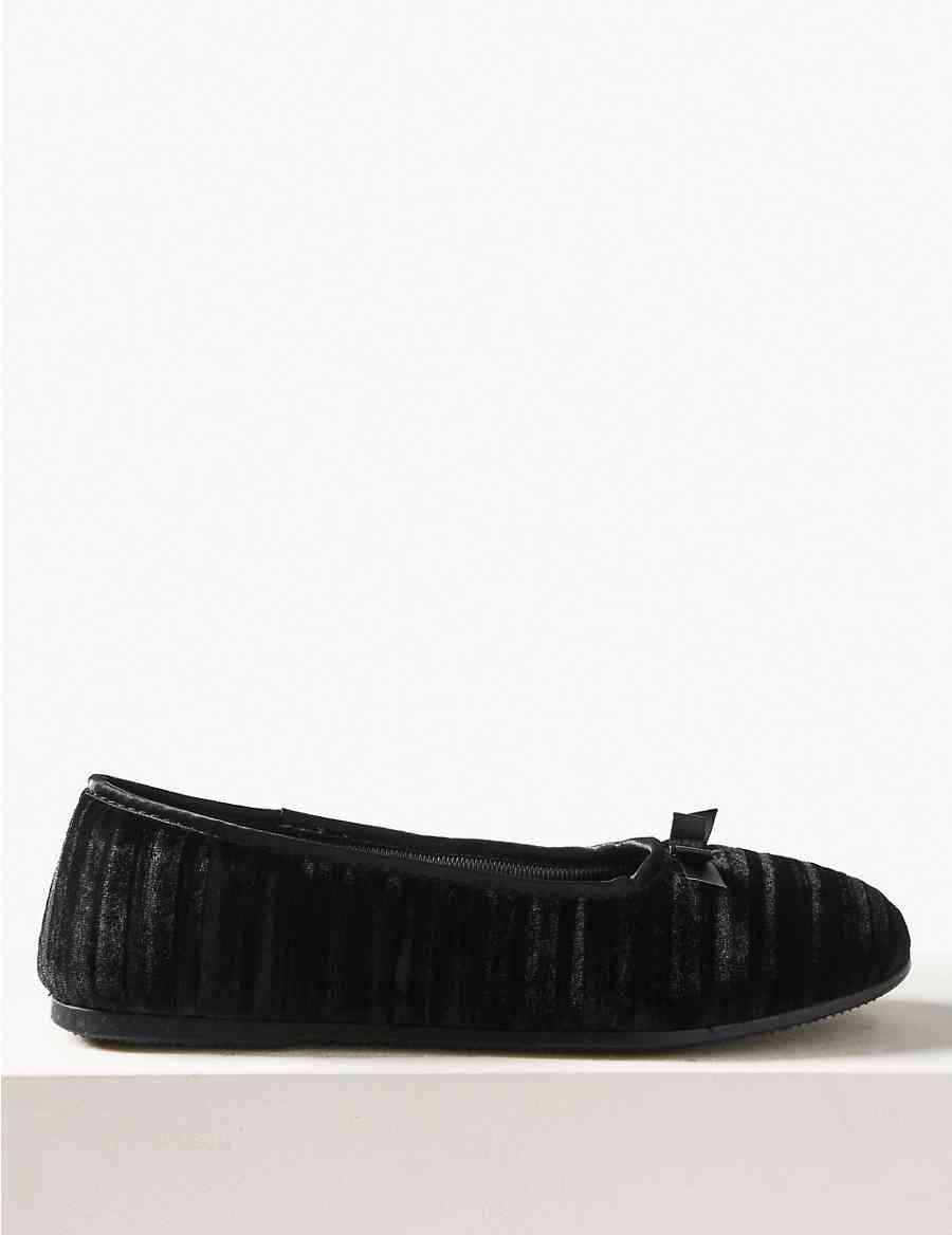 8042c1be041 Striped   Embossed Ballerina Slippers