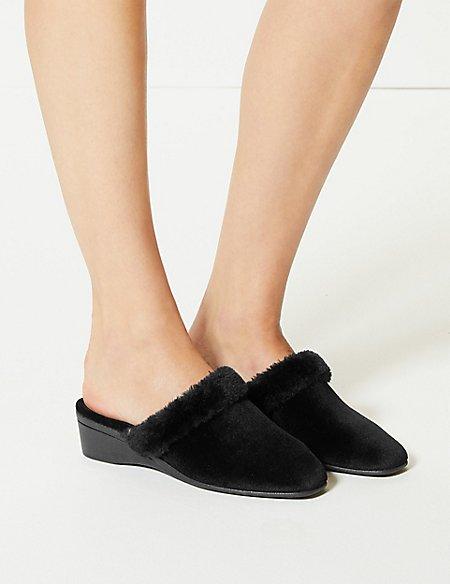 Faux Fur Trim Mule Slippers