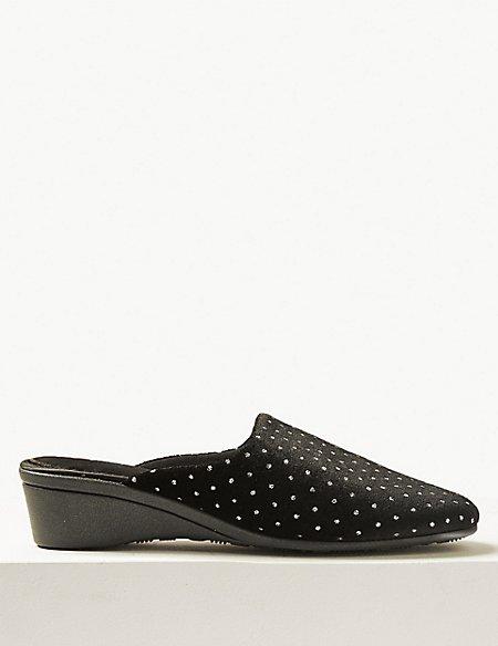 Glitter Spot Mule Slippers