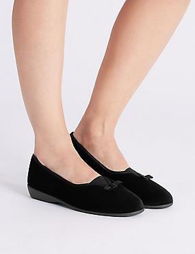 V-Throat Bow Ballerina Slippers