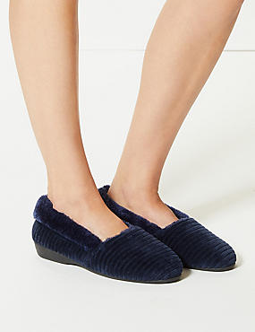 Faux Fur Striped Slipper Ballerinas