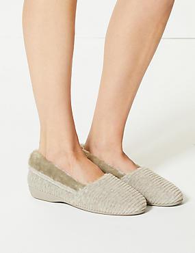 Fur Striped Slipper Boots