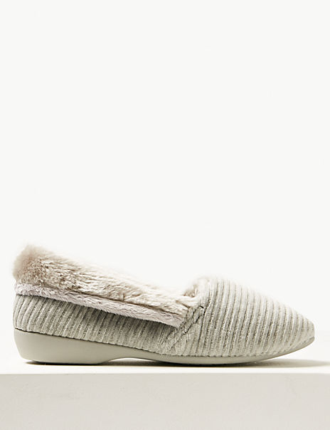 Faux Fur Trim Slipper Ballerinas