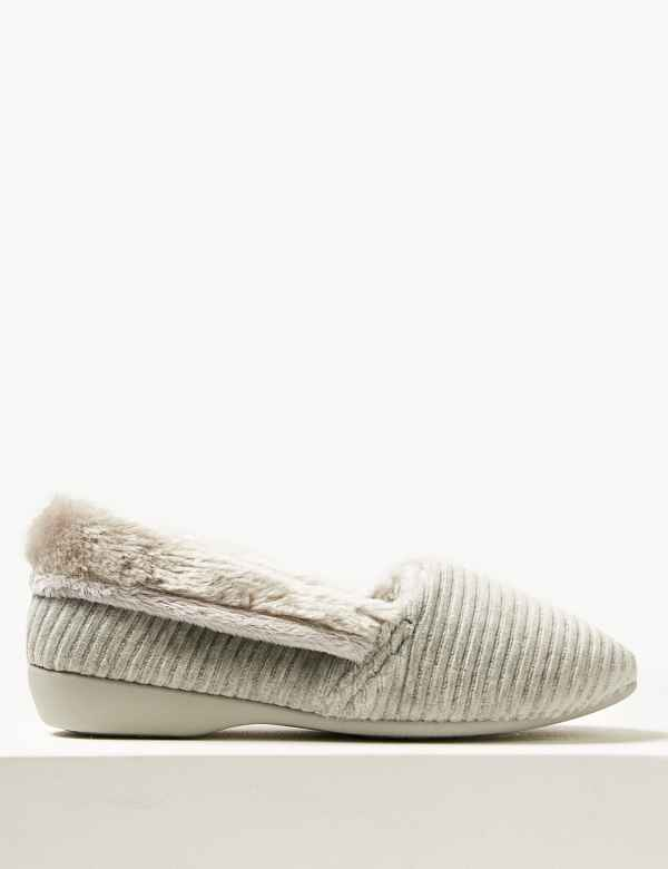 1460ecac189 Faux Fur Trim Slipper Ballerinas