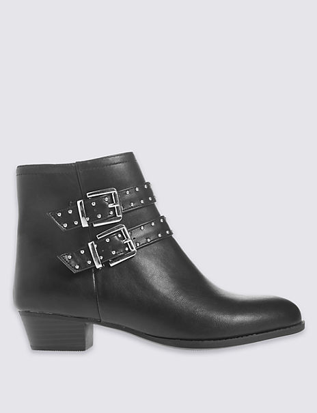 Block Heel Stud Strap Ankle Boots