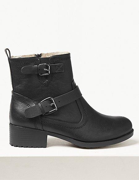 Wide Fit Block Heel Biker Ankle Boots