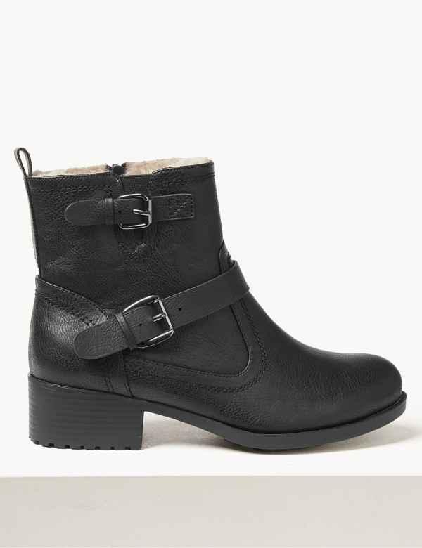 3b2460efa39f1 Wide Fit Block Heel Biker Ankle Boots