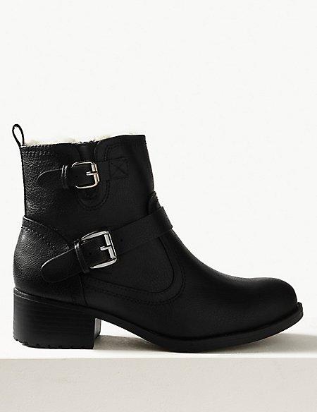 Block Heel Biker Ankle Boots