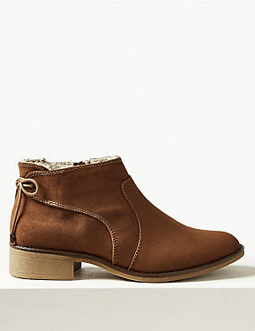 Block Heel Side Zip Tie Back Ankle Boots