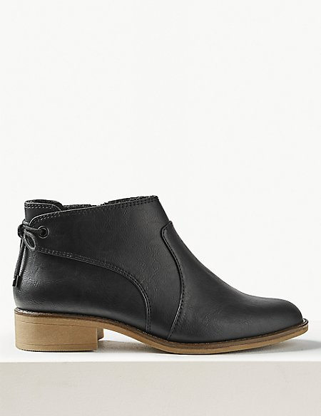 Wide Fit Tie Back Ankle Boots