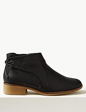 Block Heel Tie Back Ankle Boots