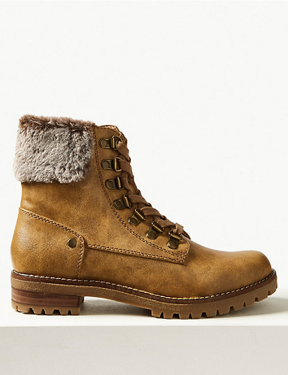 Marks /& Spencer M/&S Collection T024234 Block Heel Faux Fur Hiker Ankle Boots £45