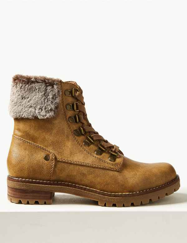 97dadd6f438 Faux Fur Hiker Ankle Boots