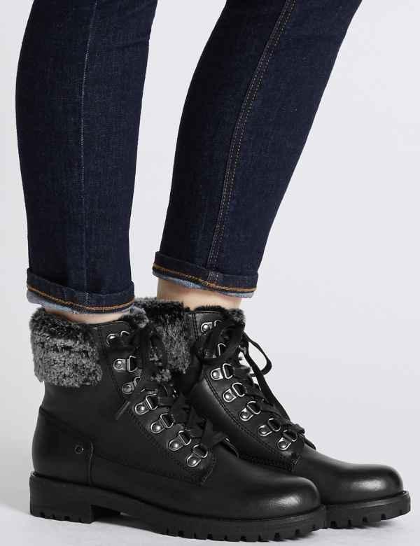905f75e61c0 Faux Fur Hiker Ankle Boots