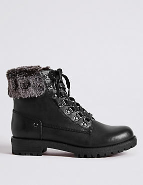 Block Heel Faux Fur Hiker Ankle Boots