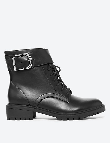Cleated Hiker Block Heel Ankle Boots