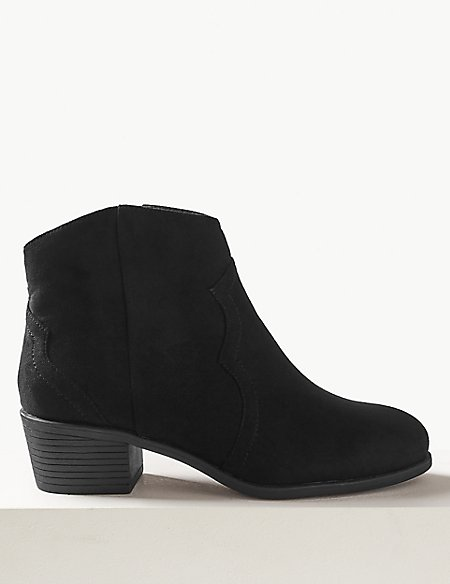 Wide Fit Western Ankle Boots