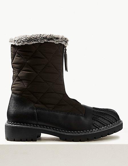 Block Heel Quilted Duck Boots