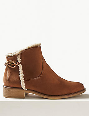 Side Zip Tie Back Ankle Boots