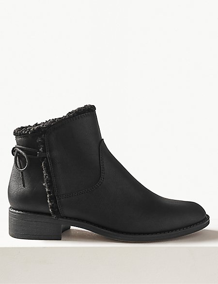 Faux Leather Tie Back Ankle Boots