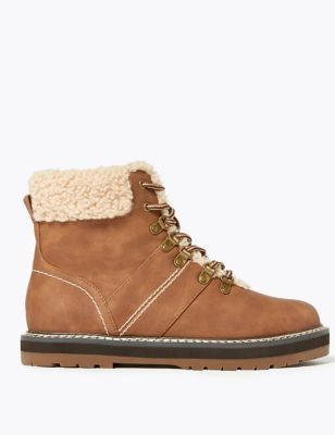 Faux Fur Hiker Ankle Boots by Marks & Spencer
