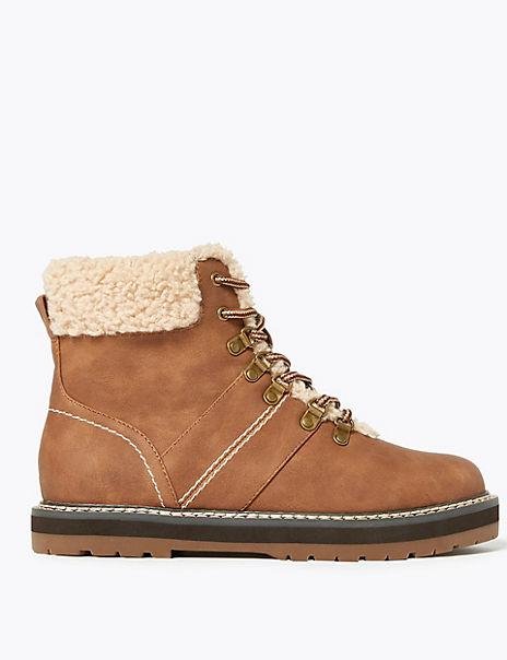 Faux Fur Hiker Ankle Boots