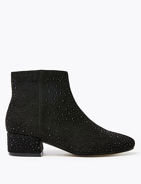 Embellished Low Block Heel Ankle Boots