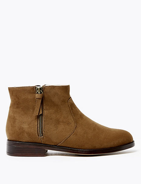 Faux Fur Lined Side Zip Ankle Boots