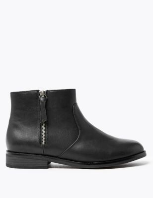 Borg Lined Side Zip Ankle Boots by Marks & Spencer