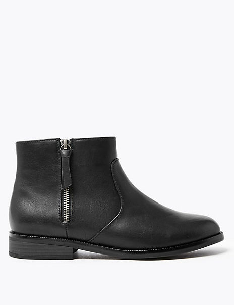 Borg Lined Side Zip Ankle Boots