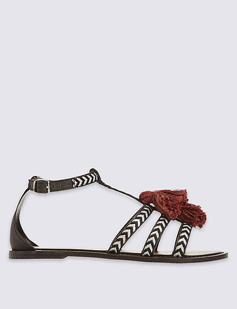 Leather Tassel Sandals