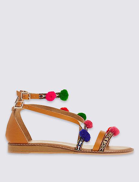 Cross Over Pom Pom Sandals