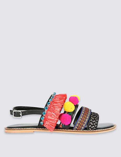 Multi Strap Pom Pom Sandals
