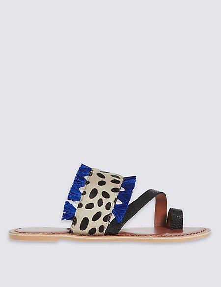 Leather Animal Print Tassel Mule Sandals