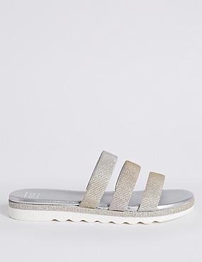Sparkle Triple Strap Mule Sandals