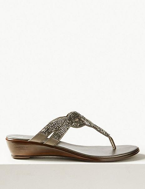 Bling Wedge Mule Sandals